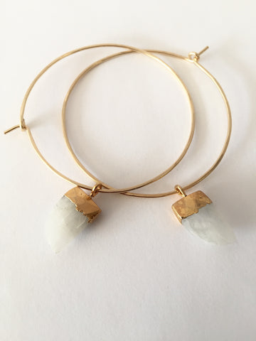 Moonstone Gem Hoops