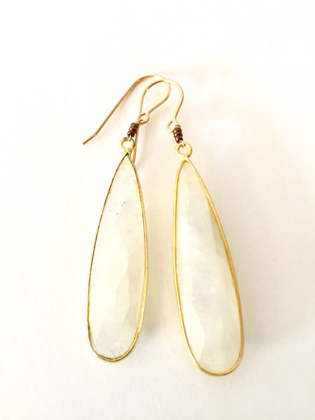 Elongate Moonstone Oval Earrings