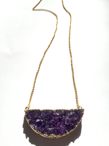 Amethyst Half Moon Necklace