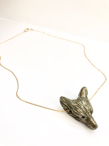 Pyrite Wolf Head Necklace