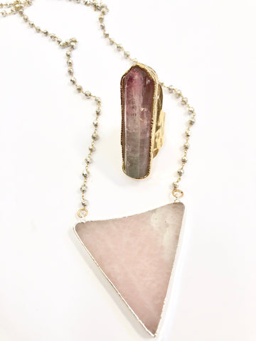 Soothing Rose Quartz Triangle Necklace