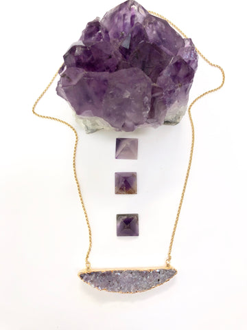 Druzy Amethyst Slice Necklace