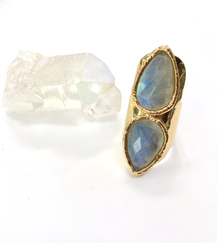 Double Moonstone Teardrop Ring
