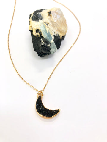 Black Amethyst Druzy Crescent Moon Necklace