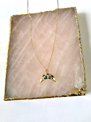 Dalmation Jasper Crescent Moon Necklace