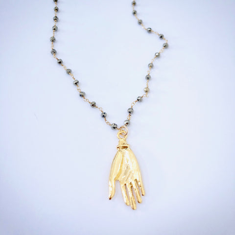 Open Hand Pyrite Necklace