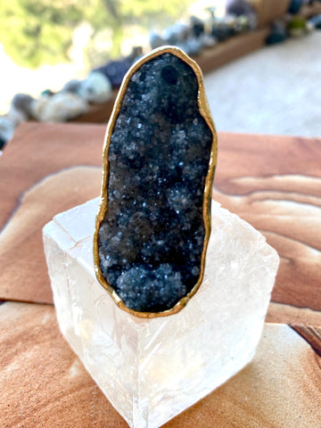 "Black Amethyst Druzy ""From the Earth"" Ring"