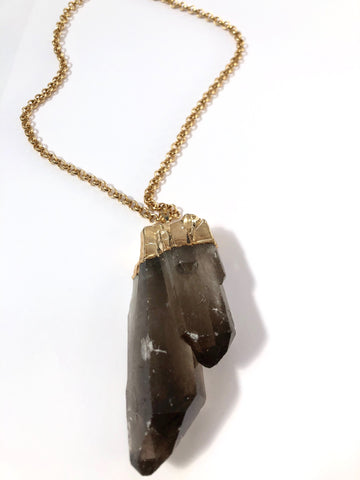 Large Smokey Quartz Anchor Necklace
