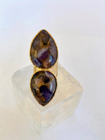 Copper & Amethyst Double Teardrop Ring