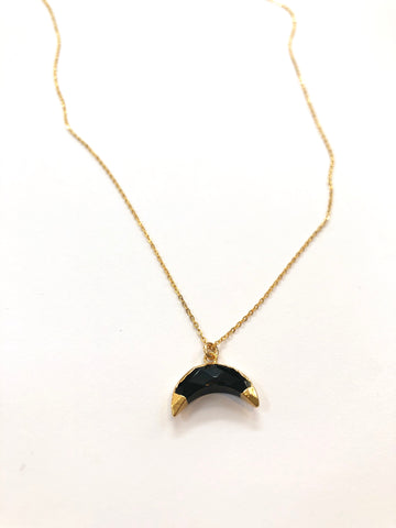 Mini Onyx Double Gold Dipped Crescent Moon
