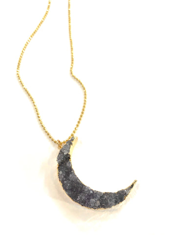 Amethyst Crescent Moon Necklace