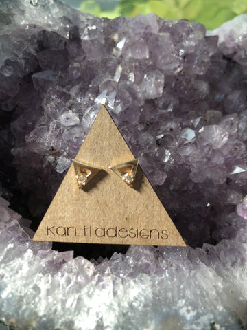 Diamond 14K Triangle Stud Earrings