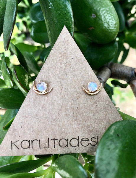 Moonstone Arc Sunbeam Stud Earrings