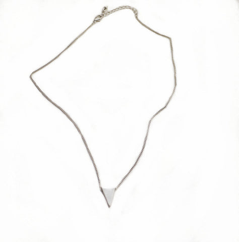 Solid Silver Triangle pendant on a Sterling Silver Chain