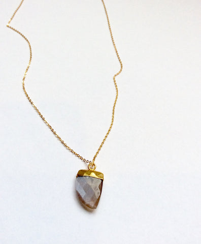 Peach Colored Moonstone Tooth Necklace