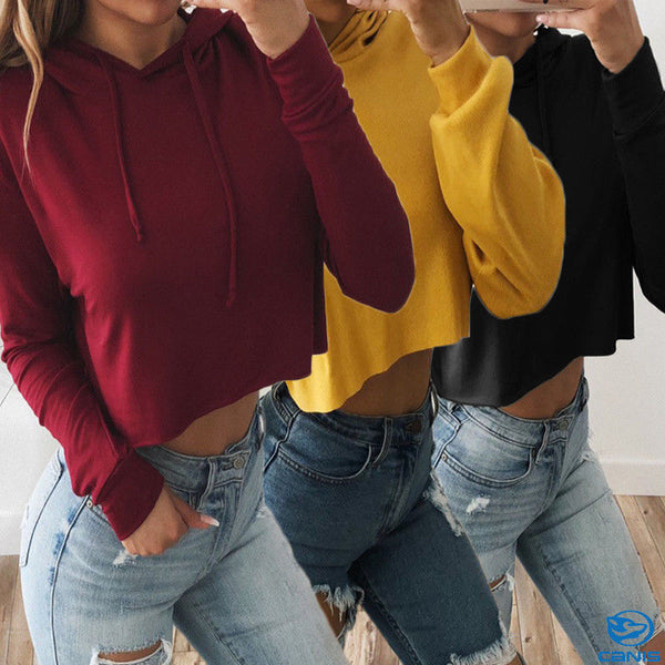 Classic Solid Color, Cropped Hoodie
