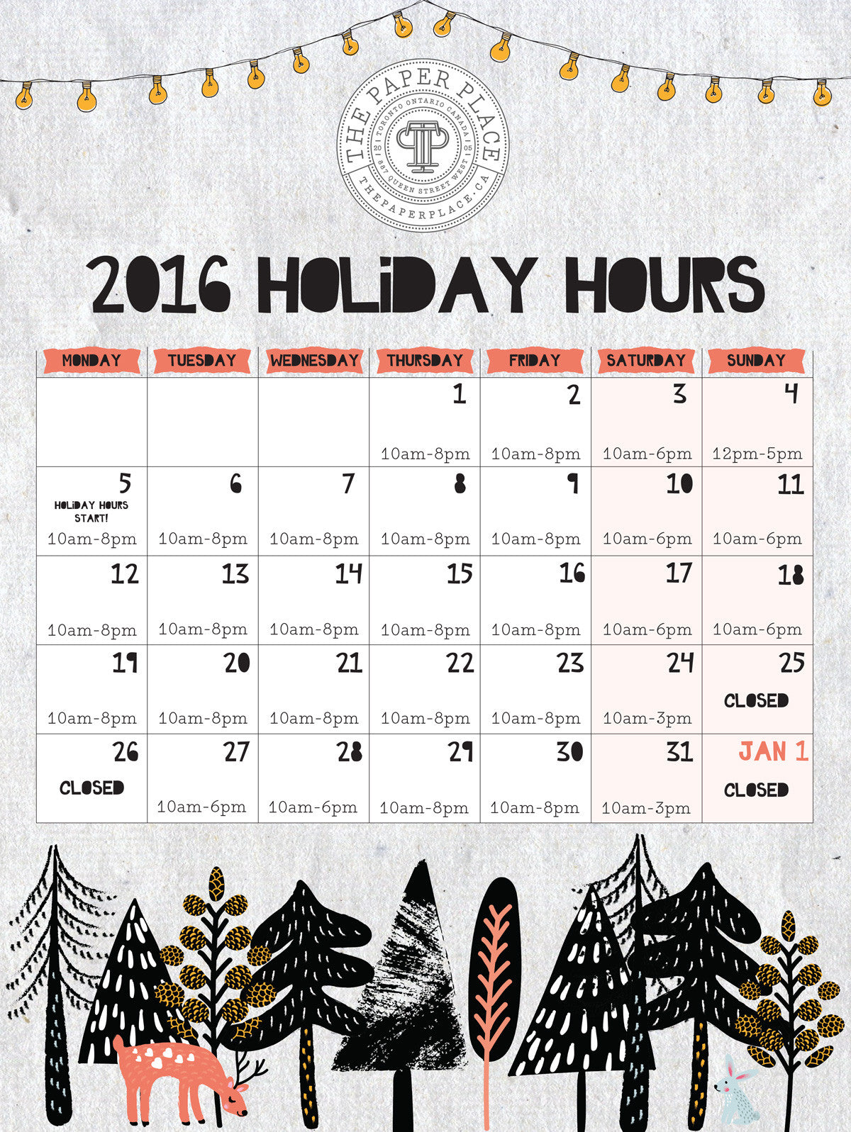 Holiday Hours and Canada Post Shipping Deadlines