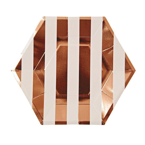 Rose Gold Striped Plates (Large)