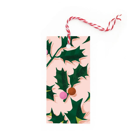 Christmas Holly on Pink Tags