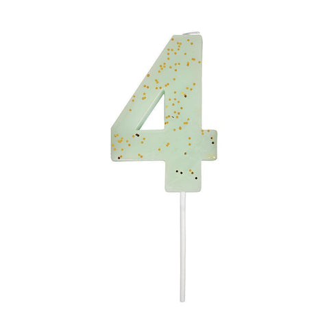 Number 4 Candle - Mint