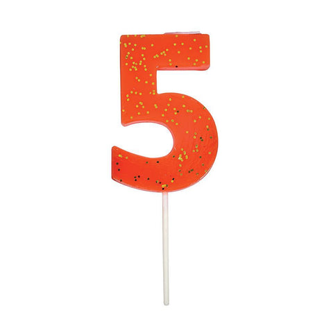 Number 5 Candle - Coral