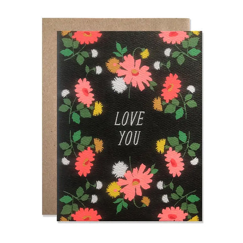 Love You Floral with Neon Daisies Single Card