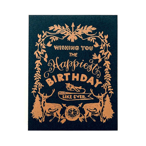 Happy Birthday Deer Crest - Single Card