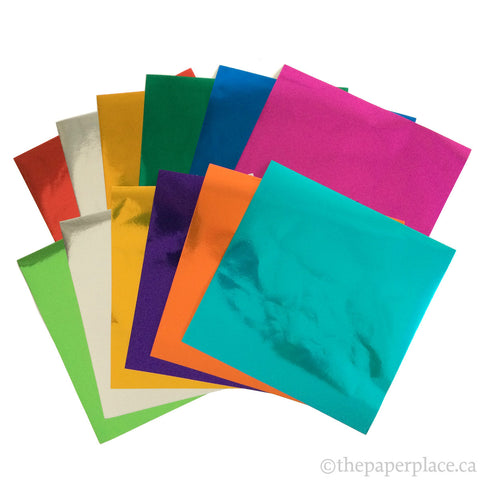 15cm Mixed Solid Colour Foil Origami - 12 Sheets