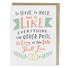 To Have & To Hold Wedding Single Card
