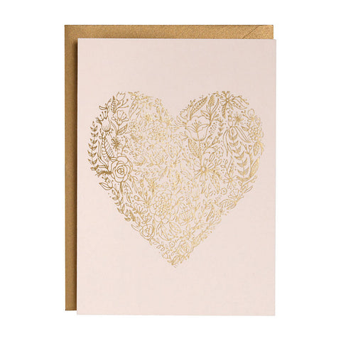Sketch Floral Heart Single Card