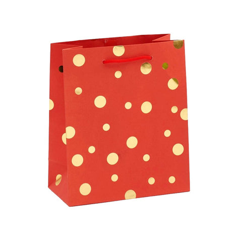 Gold Dots On Red Medium Gift Bag