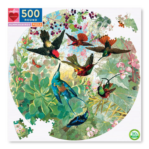 Hummingbirds 500 Piece Round Puzzle