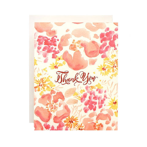 Coral Poppies Thank You Single Card