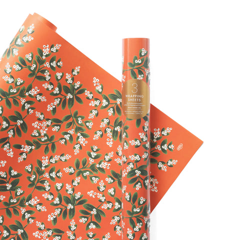 Mistletoe Gift Wrap Sheets, Roll of 3