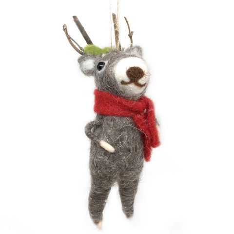 Caroling Reindeer Ornament - Plain