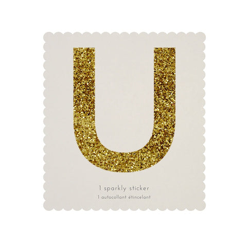 Gold Glitter Sticker - U