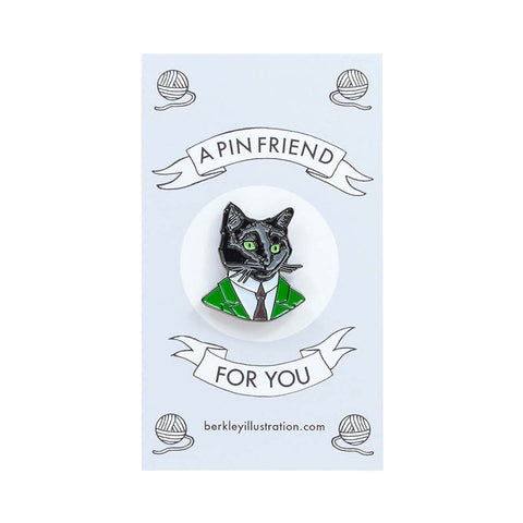 Berkley Black Cat Gentleman Enamel Pin