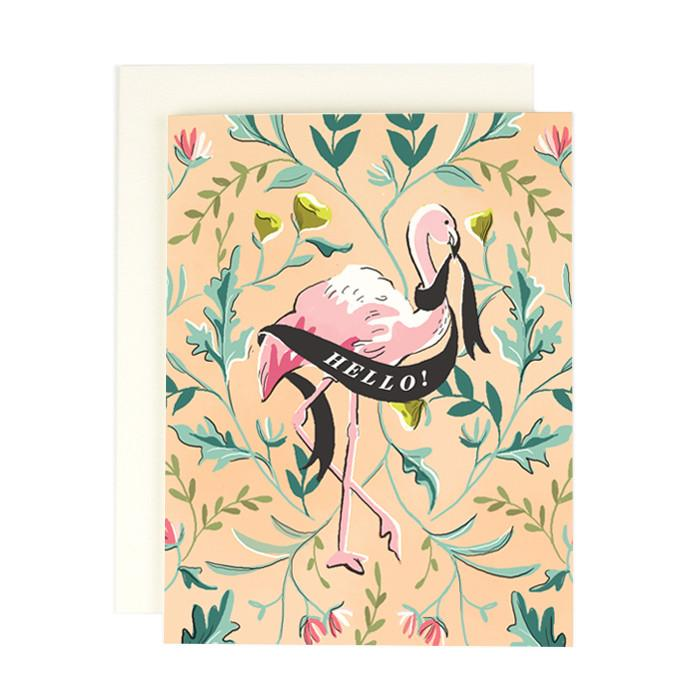 Flamingo Hello Single Card