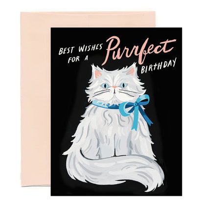 Purrfect Persian Birthday Single Card