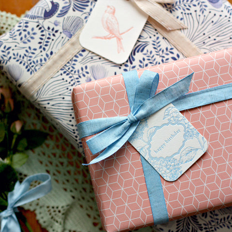 Double Sided Wrap - Blue Floral/Peach Cubes