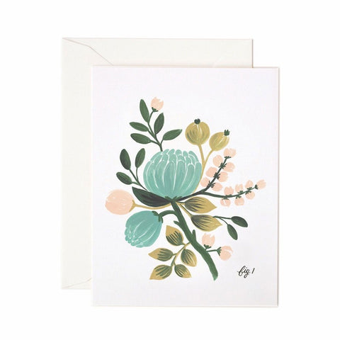 Blue Floral Single Card