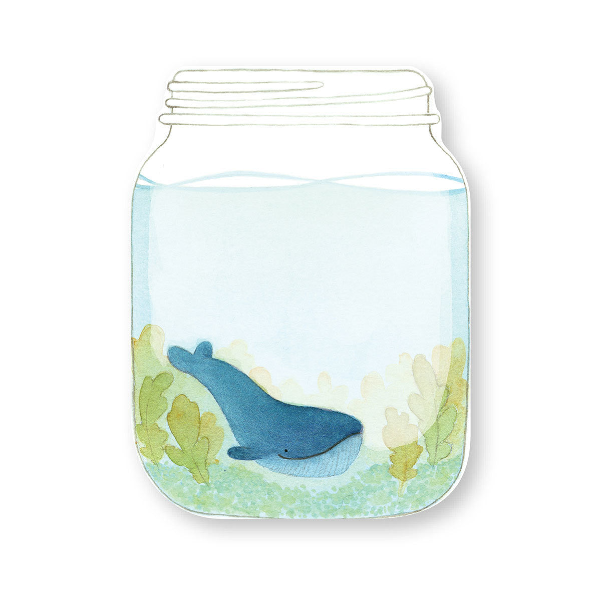 Blue Whales in Mason Jar Notepad