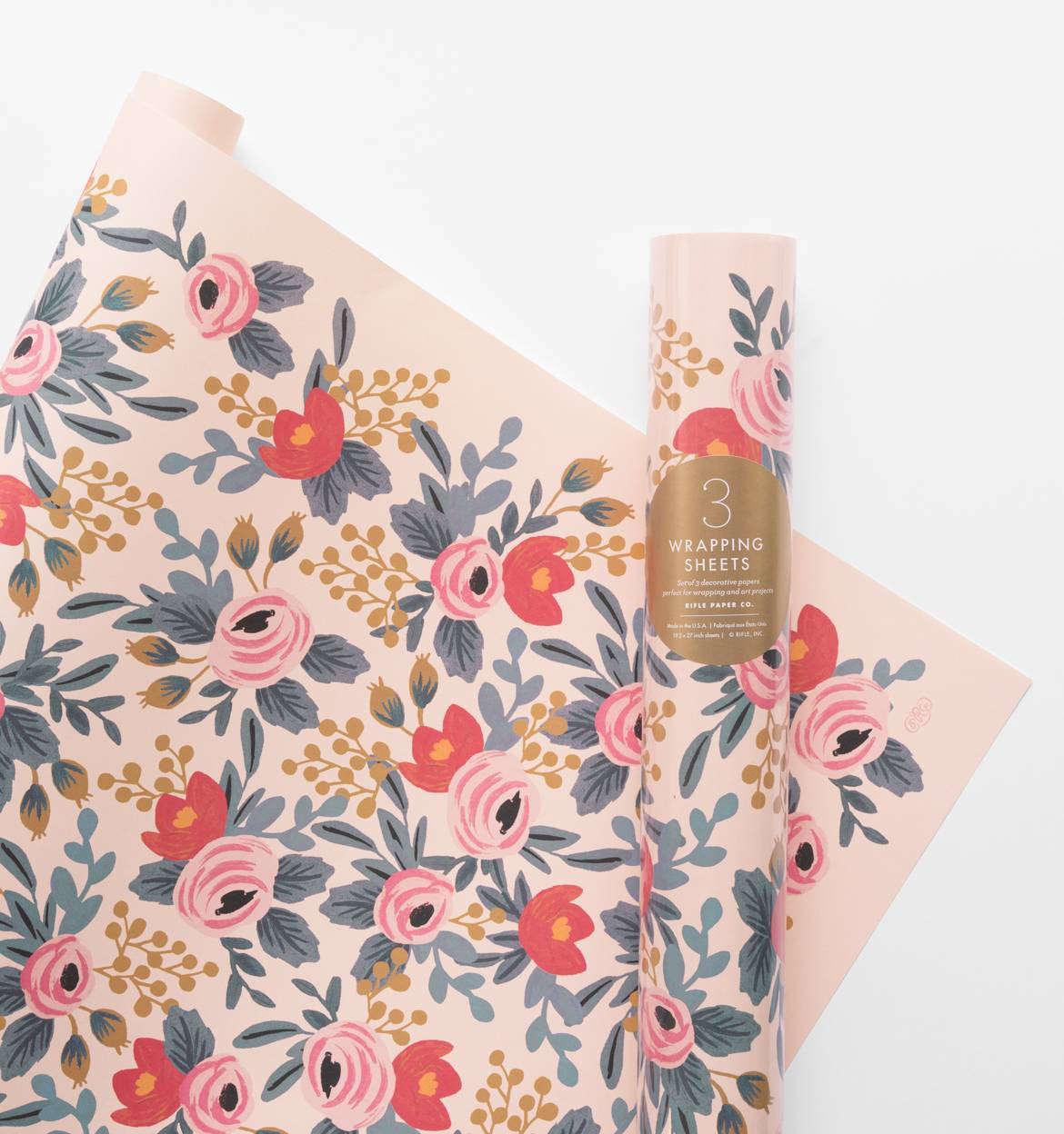 Rifle Paper Co. Blushing Rosa Wrapping Sheets, Roll of 3