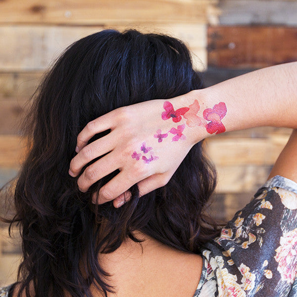 Coral Butterflies Temporary Tattoo (set of 2)