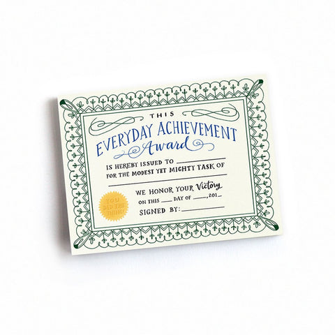 Everyday Achievement Certificate Notepad