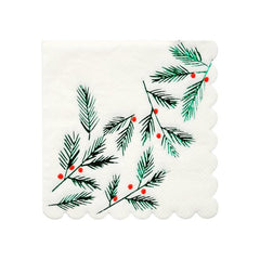 Festive Leaves & Berries Napkins (Small)