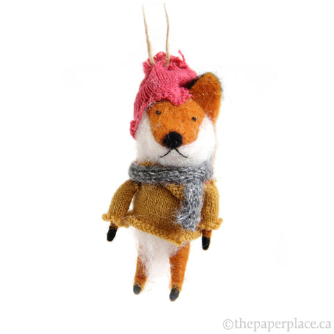 Foxy Fellow Ornament - Yellow Sweater