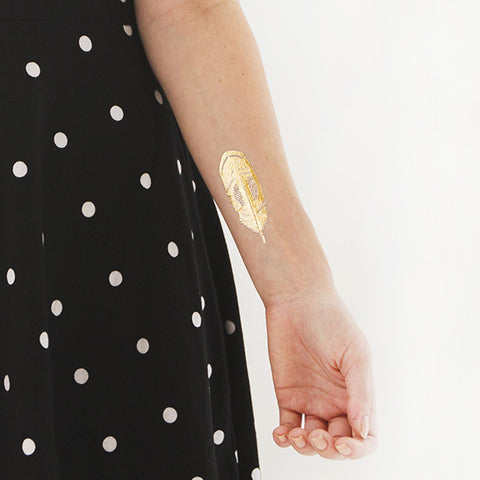 Gold Quail Feather Temporary Tattoo (set of 2)