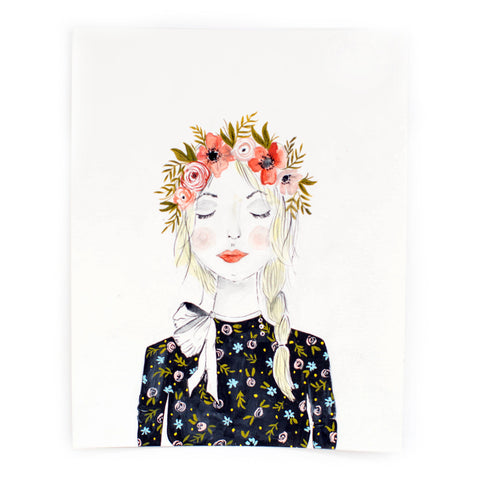 "Girl With Flower Crown 8x10"" Print"