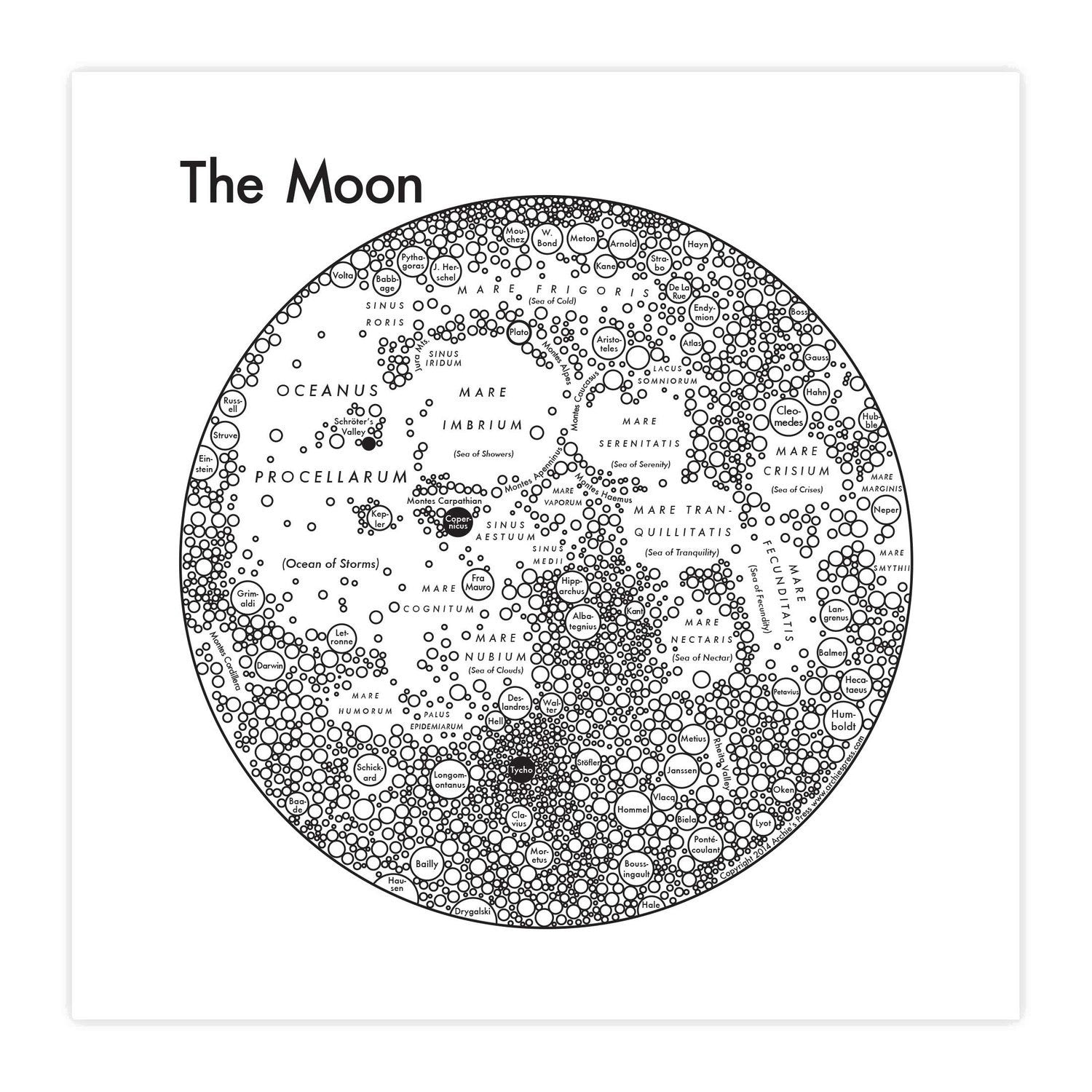"Map Of The Moon 8x8"" Print"